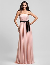 Sheath / Column Strapless Floor Length Chiffon Bridesmaid Dress with Draping Sash / Ribbon Side Draping by LAN TING BRIDE®