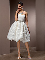 A-Line Princess Strapless Knee Length Lace Wedding Dress with Crystal Sash / Ribbon by LAN TING BRIDE®
