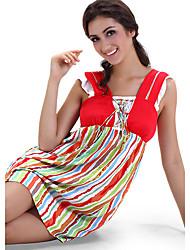povoljno -SHINEROSE Pamuk Colorful Stripes Vest Noć suknja
