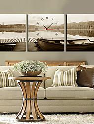 style moderne horloge murale gris en toile 3pcs
