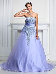 cheap -A-Line Ball Gown Strapless Court Train Organza Prom / Formal Evening / Quinceanera / Sweet 16 Dress with Lace Ruched by TS Couture®