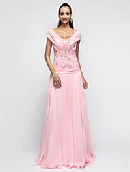 cheap -A-Line / Princess Halter Neck Floor Length Chiffon Open Back Prom / Formal Evening Dress with Beading / Sequin / Ruched by TS Couture®