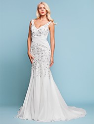 cheap -Mermaid / Trumpet V Neck Court Train Chiffon Made-To-Measure Wedding Dresses with Beading / Appliques / Criss-Cross by LAN TING BRIDE®
