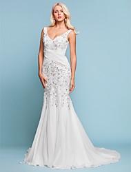 Mermaid / Trumpet V-neck Court Train Chiffon Wedding Dress with Beading Appliques Criss-Cross by LAN TING BRIDE®