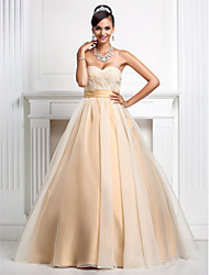 cheap -Ball Gown Princess Strapless Sweetheart Floor Length Organza Prom Quinceanera Dress with Beading by TS Couture®