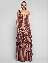 Sheath / Column One Shoulder Floor Length Taffeta Prom Formal Evening Military Ball Dress with Flower(s) Pick Up Skirt by TS Couture®