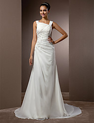 Sheath / Column Straps Court Train Chiffon Wedding Dress with Beading Side-Draped by LAN TING BRIDE®
