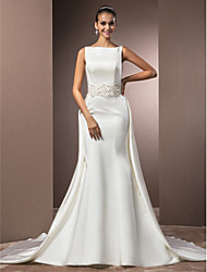 cheap -Mermaid / Trumpet Bateau Neck Cathedral Train Satin Custom Wedding Dresses with Beading by LAN TING BRIDE®