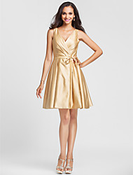 A-Line Princess V-neck Knee Length Satin Bridesmaid Dress with Draping Sash / Ribbon Criss Cross by LAN TING BRIDE®