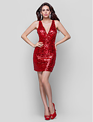 Sheath / Column V-neck Short / Mini Sequined Cocktail Party Holiday Dress with Pleats Sequins by TS Couture®