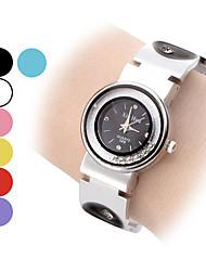 Mulheres Relógio de Moda Relógio de Pulso Bracele Relógio Relógios Femininos com Cristais Quartzo Banda Vintage Preta Branco Azul