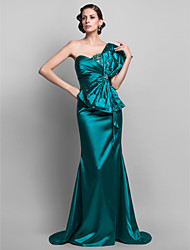cheap -Mermaid / Trumpet One Shoulder Sweep / Brush Train Stretch Satin Formal Evening / Military Ball Dress with Beading Bow(s) Tassel Side