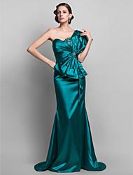 Sirena / tromba una spalla spazzata / treno spazzola treno raso raso abito da sera con bordatura da ts couture®
