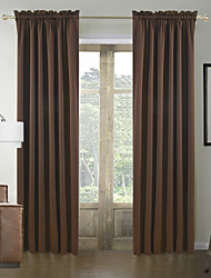 cheap -Rod Pocket Grommet Top Tab Top Double Pleat Two Panels Curtain Modern Solid 100% Polyester Polyester Material Curtains Drapes Home