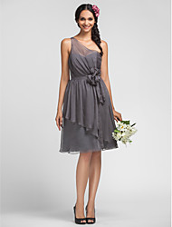 cheap -A-Line One Shoulder Knee Length Chiffon Bridesmaid Dress with Draping / Flower by LAN TING BRIDE®