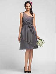 Linea-A Monospalla Al ginocchio Chiffon Vestito da damigella con Drappeggio Fiore (i) di LAN TING BRIDE®