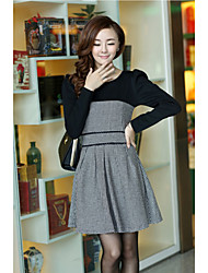 Women's Going out Skater Dress,Color Block Round Neck Above Knee Long Sleeve Black Others All Seasons