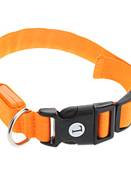 cheap -Cat Dog Collar LED Lights Adjustable / Retractable Solid Nylon Orange