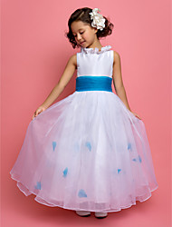 cheap -A-Line / Princess Ankle Length Flower Girl Dress - Organza / Taffeta Sleeveless Jewel Neck with Sash / Ribbon / Ruched / Flower by LAN TING BRIDE®