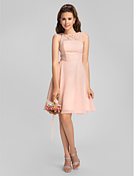 cheap -A-Line Jewel Neck Knee Length Chiffon Bridesmaid Dress with Beading Lace by LAN TING BRIDE®