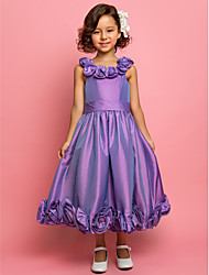 economico -A-line vestito ragazza da fiore lunghezza lunghezza tea - taffetà cinghie spaghetti sleeveless da lan ting bride®