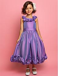 A-Line Princess Tea Length Flower Girl Dress - Taffeta Sleeveless Spaghetti Straps by LAN TING BRIDE®