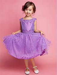 cheap -A-Line Princess Knee Length Flower Girl Dress - Cotton Polyester Sleeveless Square Neck with Embroidery Lace by