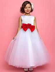 Un vestito dalla ragazza di fiore della lunghezza della caviglia - il collo di gioiello sleeveless del tulle di lan ting bride®
