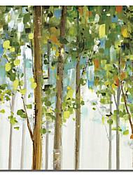 Недорогие -Натянутым холстом искусств Ботанический Зеленые листья