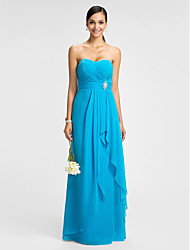 cheap -Sheath / Column Sweetheart Floor Length Chiffon Bridesmaid Dress with Sash / Ribbon Ruched Crystal Brooch Criss Cross by LAN TING BRIDE®