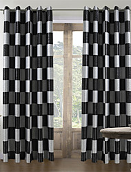 Two Panels Curtain Mediterranean , Plaid/Check Living Room Polyester Material Curtains Drapes Home Decoration For Window