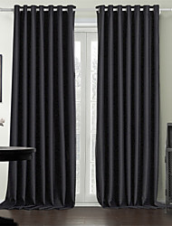 cheap -Rod Pocket Grommet Top Tab Top Double Pleat Two Panels Curtain Modern , Print Solid Bedroom 100% Polyester Polyester Material Curtains