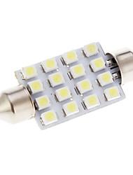 16 LED SMD Car White Light Lighting System Bulb Lamp 41mm 2Pcs