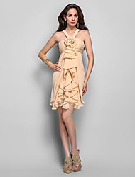 preiswerte -Eng anliegend Halter Kurz / Mini Chiffon Cocktailparty Kleid mit Blume(n) Horizontal gerüscht Kaskaden Rüschen durch TS Couture®