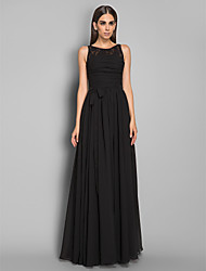 cheap -Sheath / Column Illusion Neckline Floor Length Chiffon Formal Evening / Military Ball Dress with Lace Sash / Ribbon Ruched by TS Couture®
