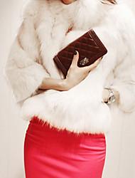 billige -Høj krave Dame Ensfarvet Vintage Pelsfrakke