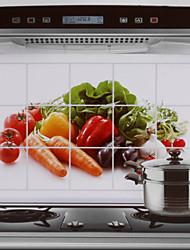 75x45cm verdure modello hot-proof autoadesivo della parete della cucina a prova di olio impermeabile