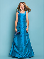 cheap -A-Line Princess Straps Floor Length Taffeta Junior Bridesmaid Dress with Side Draping by LAN TING BRIDE®