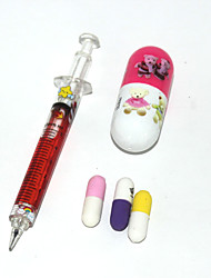 vitamin Ballpoint Pen Needle Pencil and Pill Erasers Set(Random Color)