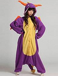 cheap -Kigurumi Pajamas Dinosaur Dragon Onesie Pajamas Costume Coral fleece Purple Cosplay For Adults' Animal Sleepwear Cartoon Halloween