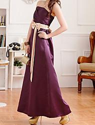 Damen Kleid - A-Linie Party Einfarbig Maxi Seide Trägerlos
