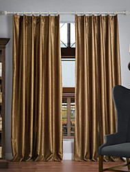 cheap -Rod Pocket Grommet Top Tab Top Double Pleat Two Panels Curtain Neoclassical , Embossed Solid 100% Polyester Polyester Material Blackout