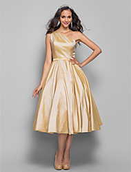 A-Line Princess One Shoulder Tea Length Taffeta Cocktail Party Homecoming Prom Dress with Sash / Ribbon Side Draping by TS Couture®