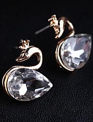 baratos -Feminino Brincos Curtos Cristal Pedras dos signos Pedras preciosas sintéticas Imitações de Diamante Liga Formato Animal Cisne Jóias Para