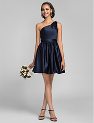 cheap -A-Line Princess One Shoulder Short / Mini Satin Bridesmaid Dress with Side Draping by LAN TING BRIDE®