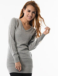 fitspace kvinder v hals lang sweater incl. halstørklædet grå