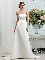 cheap -A-Line Strapless Sweep / Brush Train Satin Custom Wedding Dresses with Button by LAN TING BRIDE®