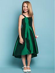 A-Line Straps Asymmetrical Taffeta Junior Bridesmaid Dress with Sash / Ribbon by LAN TING BRIDE®