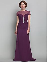 preiswerte -Mantel / Spalte Juwel Hals Sweep / Pinsel Zug Chiffon Tüll Mutter der Braut Kleid von lan ting bride ®