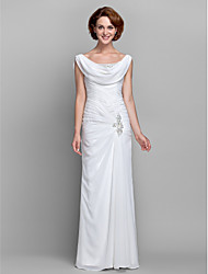 cheap -Sheath / Column Cowl Neck Floor Length Chiffon Mother of the Bride Dress with Beading Buttons Crystal Detailing Side Draping Criss Cross